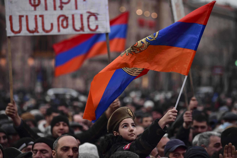 Supporters of Armenia's Prime Minister Nikol Pashinyan rallied at Yerevan's Republic Square on Monday night