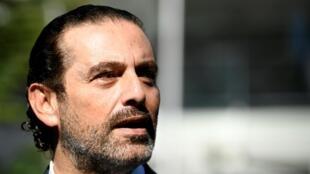 Saad Hariri lors d'une conférence de presse aux Pays-Bas, le 14 août 2020.