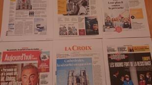 Primeiras páginas de  diários franceses  20 07 2020