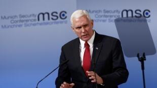 Mike Pence lors de son intervention à la 53e Conférence sur la sécurité de Munich, le 18 février 2017.