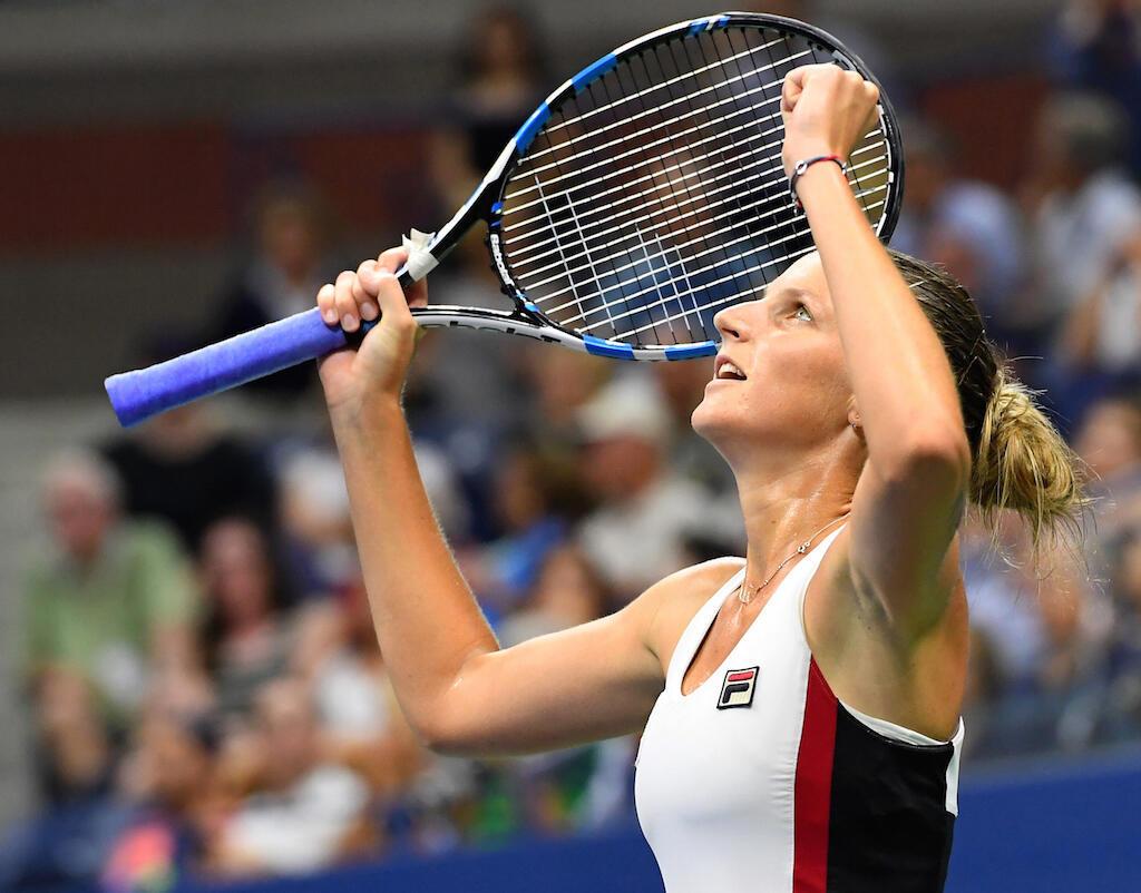 Mchezaji Karolina Pliskova akishangilia baada ya kutinga hatua ya fainali ya michuano ya US Open kwa kumfunga Serena Williams