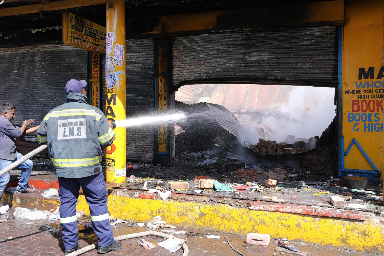 Un magasin endommagé par les rixes xénophobes, le 3 septembre 2019, à Johannesburg.