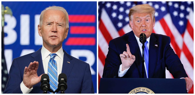 Ảnh ghép của Reuters: Ứng viên tổng thống đảng Dân Chủ Joe Biden (T) và ứng viên tổng thống đảng Cộng Hòa Donald Trump.