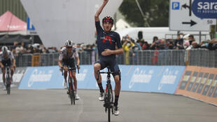 Team Ineos rider Tao Geoghegan Hart soloes to victory in Stage 15 of the Giro d'Italia.