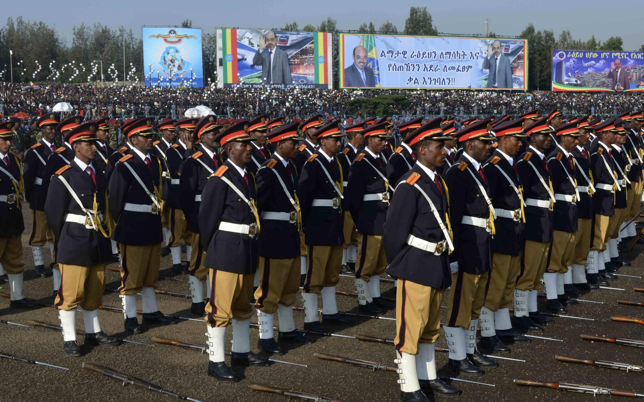Soldiers attend the funeral ceremony of Ethiopia's Prime Minister Meles Zenawi in Addis Ababa, 2 September 2012