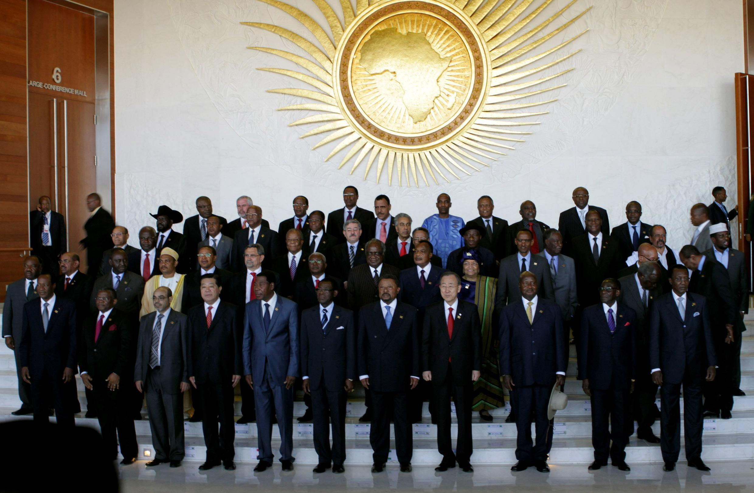 African leaders pose for the group photograph at the AU summit in Addis Ababa, 29 January