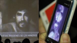 Imagens dos mineiros feitas à partir de um vídeo, no Chile.