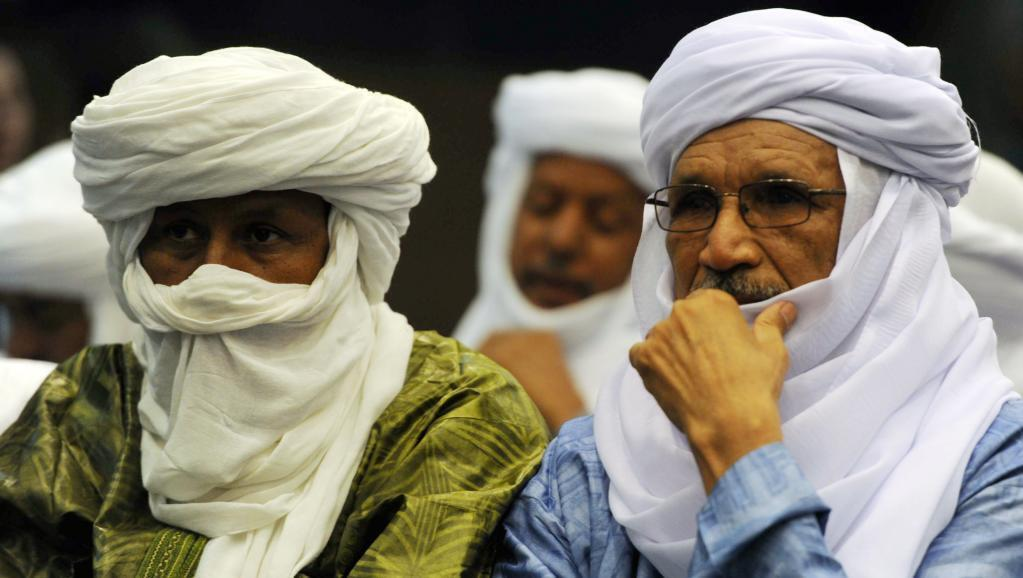 Members of the CMA, the Coordination of Azawad Movements gather in Algiers during  a preliminary peace agreement, 14 May 2015