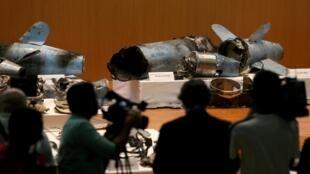 沙特政府展示的被認為是襲擊其石油設備的導彈殘留部分