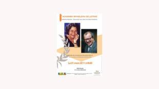 Cartaz do encontro entre alunos e os escritores  Ana Maria Machado e João Ubaldo Ribeiro na Sorbonne.