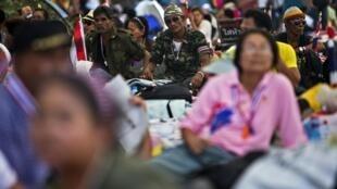 Cảnh phản đối chính phủ tại trung tâm Bangkok ngày 11/01/ 2014.