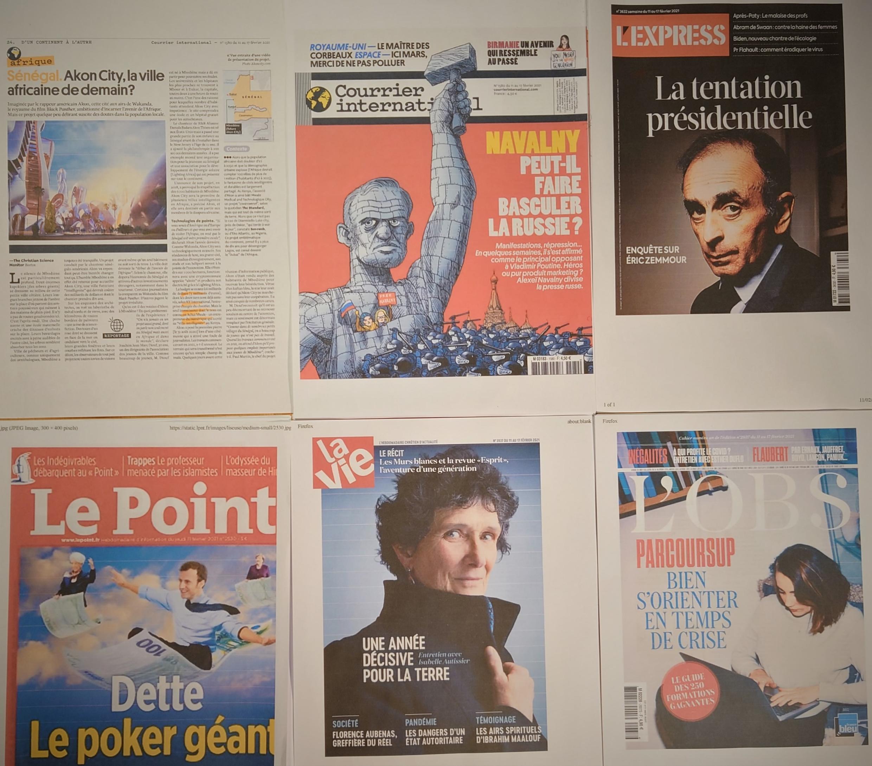 Semanários franceses  13 02 2021