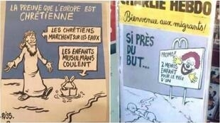 Dos viñetas del número de Charlie Hebdo que sale a la calle este miércoles 16 de agosto de 2015.