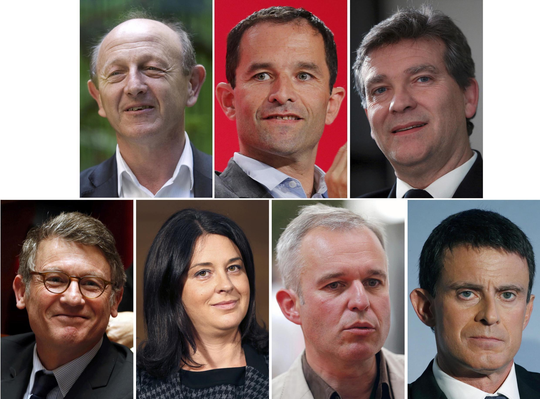 Os setes candidatos às primárias. No alto, da esquerda para a direita: Jean-Luc Bennahmias, Benoît Hamon e Arnaud Montebourg. Embaixo, da esquerda para à direita: Vicent Peillon, Sylvia Pinel, François de Rugy e Manuel Valls.
