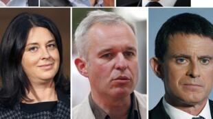 No alto, da esquerda para a direita: Jean-Luc Bennahmias, Benoît Hamon e Arnaud Montebourg. Embaixo, da esquerda para à direita: Vicent Peillon, Sylvia Pinel, François de Rugy e Manuel Valls.
