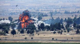 Chiến sự ở Quneitra, bên phía Syria kiểm soát, gần cao nguyên Golan, ngày 22/07/2018