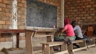 Deux élèves au centre Don Bosco, à Bangui, le 13 février 2019.
