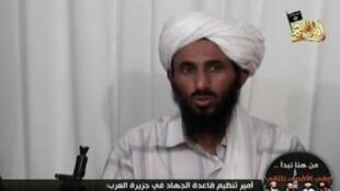 Nasser al-Wahishi trong một lần xuất hiện trên vidéo tuyên truyền.