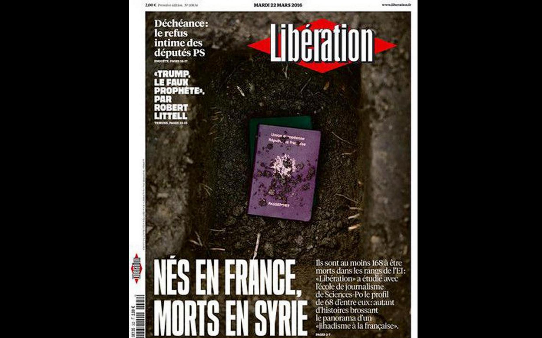 Capa do jornal francês Libération desta terça-feira, 22 de março de 2016