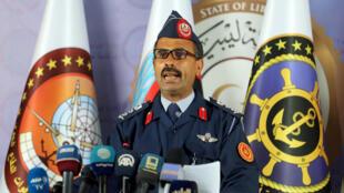 Mohamed Ghnouno, phát ngôn viên Lực lượng vũ trang Libya GNA trong cuộc họp báo tại Tripoli, Libya, ngày 07/04/2019