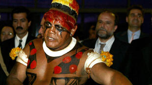 Aritana, de la tribu des Yawalapiti, le 6 octobre 2003 à Brasilia.