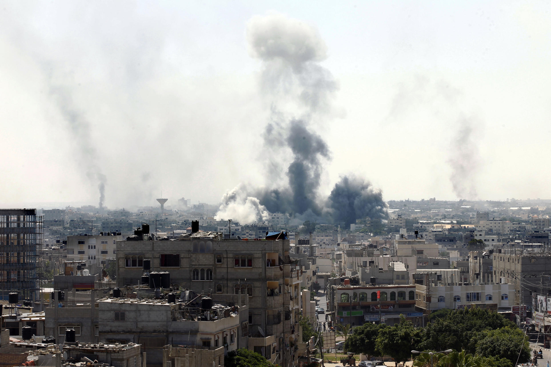 Thành phố Rafah, nam Gaza, sau trận oanh kích của quân đội Israel, 01/08/2014