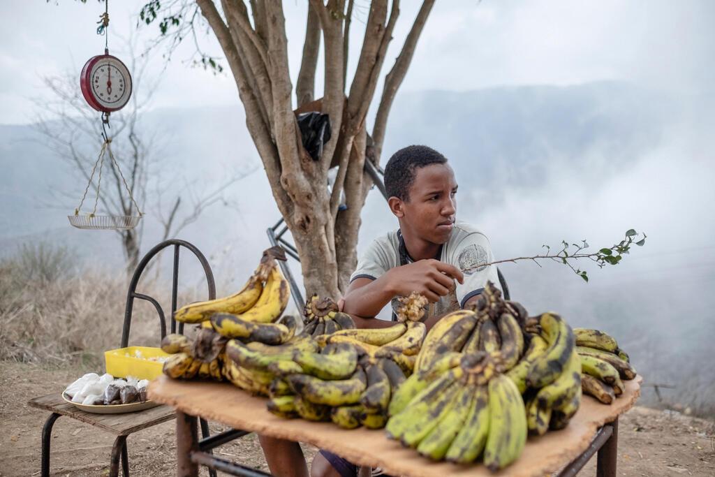 Avec un salaire minimum de 7 dollars, la plupart des habitants sont obligés de chercher d'autres emplois pour survivre. Un jeune homme vend des bananes sur les hauteurs de Ciudad Caribia, entouré de brouillard.
