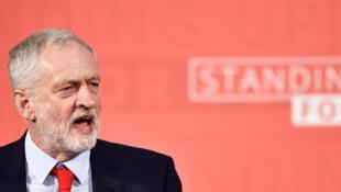 Le leader du Labour britannique, Jeremy Corbyn, lors d'un discours à Londres, le 20 avril 2017.