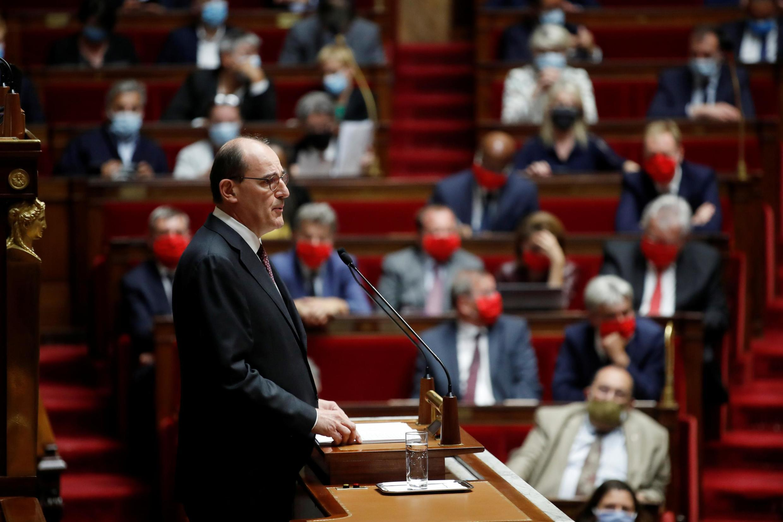 Jean Castex, primeiro-ministro francês, perante a Assembleia Nacional a 15 de Julho de 2020.