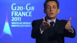O presidente francês, Nicolas Sarkozy, durante apresentação dos objetivos da França à frente do G20 e do G8.