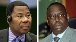 Le président béninois Thomas Boni Yayi (G) et le candidat à l'élection présidentielle sénégalaise, Macky Sall (D).