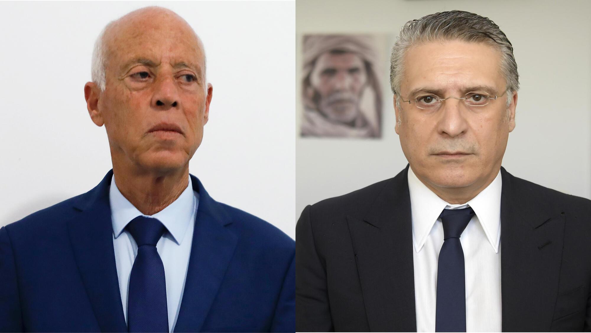 Na esquerda, Kaïs Saïed e, à direita, Nabil Karoui, os dois candidatos à segunda volta das presidenciais de Domingo na Tunísia.