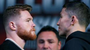 Les boxeurs Gennady Golovkin et Canelo Alvarez, pendant une conférence de presse, à Las Vegas, le 13 septembre 2017.