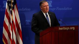 Ngoại trưởng Mỹ Mike Pompeo phát biểu về chính sách của Hoa Kỳ về Iran, tại Quỹ Heritage, Washington, ngày 21/05/2018