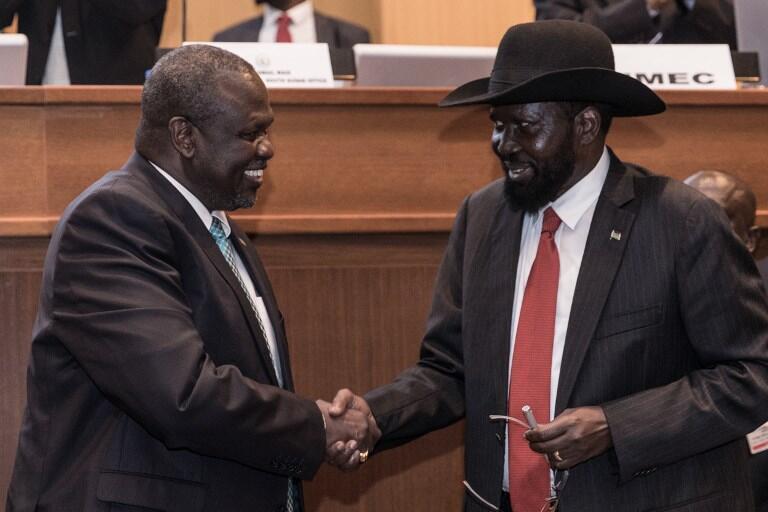 Salva Kiir et Riek Machar le 12 septembre 2018.
