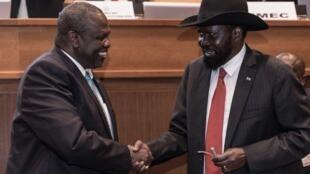 Rais Sudan kusini Salva Kiir akiwa na Riek Machar, aliyekuwa makamu wake wa rais