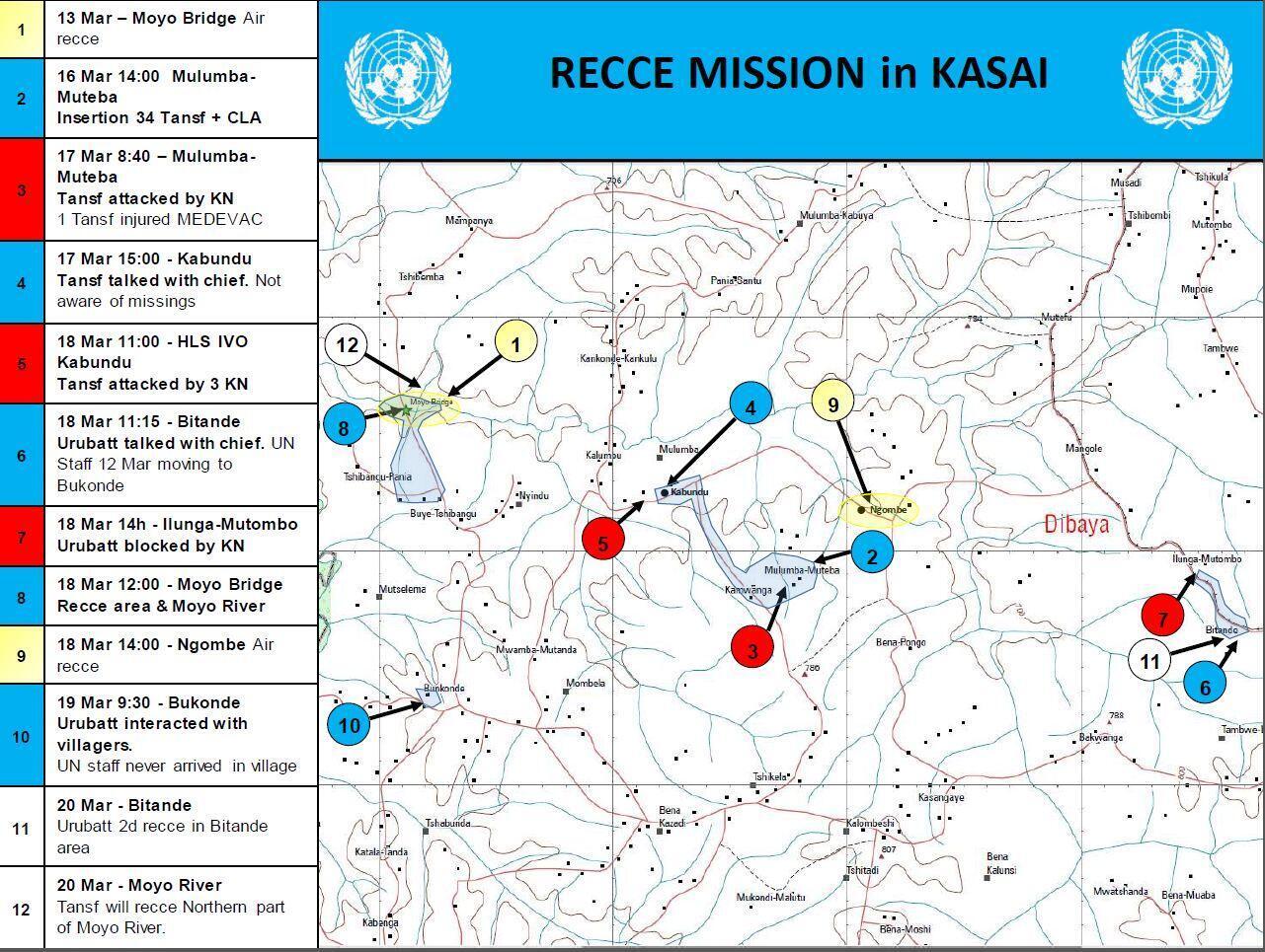 La carte des différentes missions de reconnaissance menées par la la force de l'ONU en RDC entre le 13 et 20 mars à la recherche des experts qui ne sont alors que portés disparus.