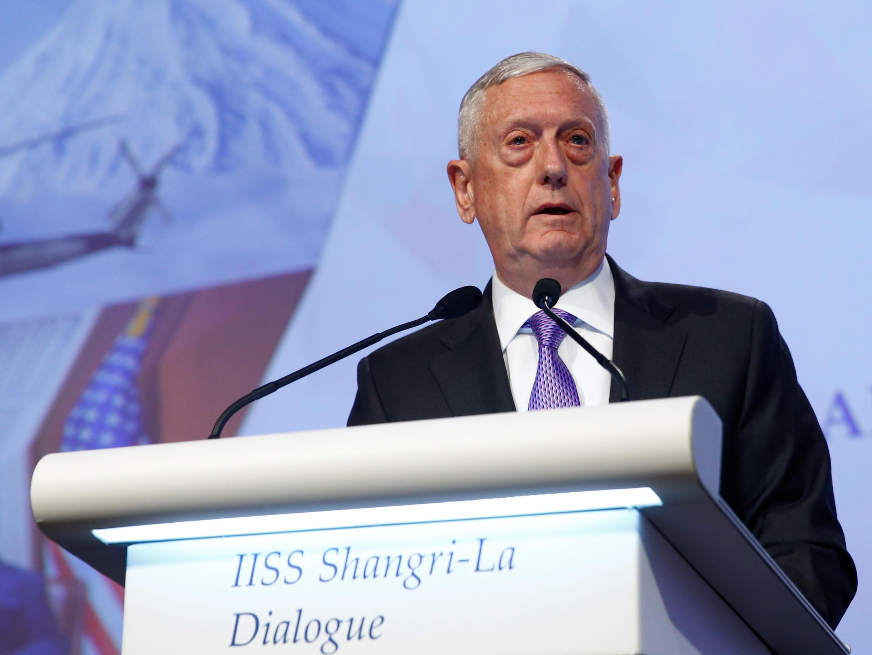 James Mattis, lors d'une allocution à Singapour, le 3 juin 2017.
