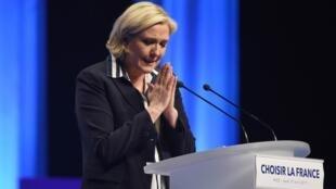 Marine Le Pen, la candidate du Front national, en meeting à Nice, le 27 avril 2017.