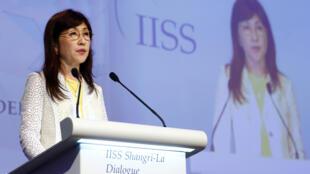 Bộ trưởng Quốc Phòng Nhật Tomomi Inada phát biểu tại diễn đàn an ninh Châu Á - Đối Thoại Shangri-la, Singapore, ngày 03/06/2017.
