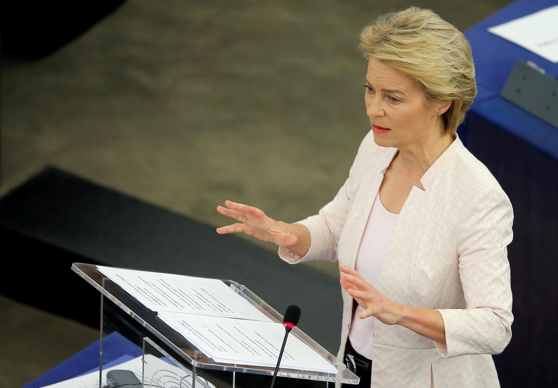 Bà Ursula von der Leyen phát biểu trước Nghị Viện Châu Âu (Strasbourg), sau khi được đề cử làm chủ tịch Ủy Ban Châu Âu, ngày 16/07/2019
