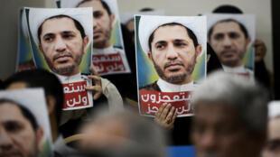 Manifestation de soutien à Cheikh Ali Salmane au siège du mouvement Al-Wefaq, dans le village de Zinj, le 29 mai 2016.