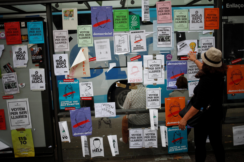 Листовки в поддержку референдума в Каталонии, 25 сентября 2017.