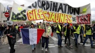 Protesters attend a demonstration during the 24th consecutive national protest on Saturday of the yellow vests movement in Strasbourg