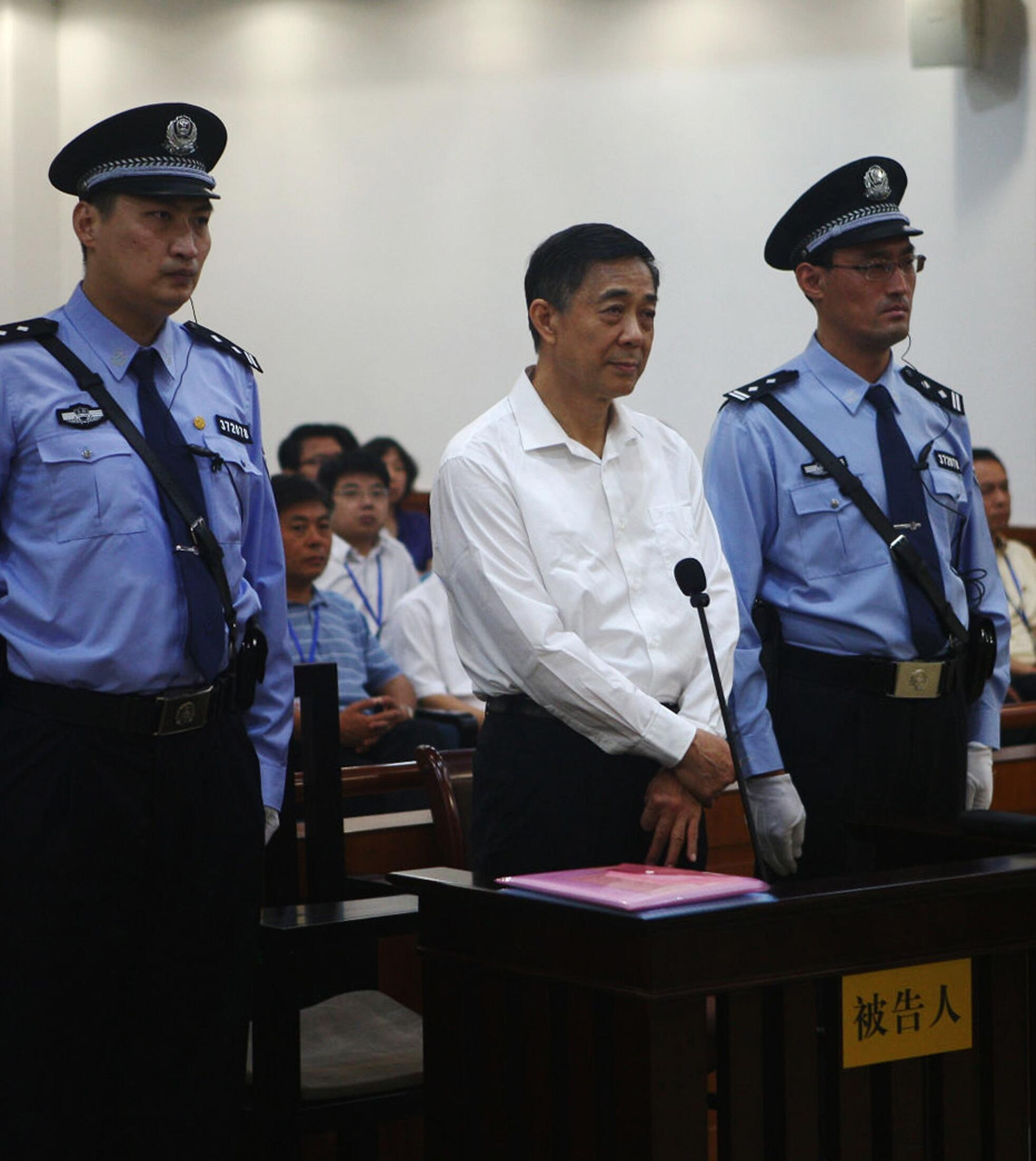 Ông Bạc Hy Lai trước tòa án Tế Nam ngày  22/08/ 2013.