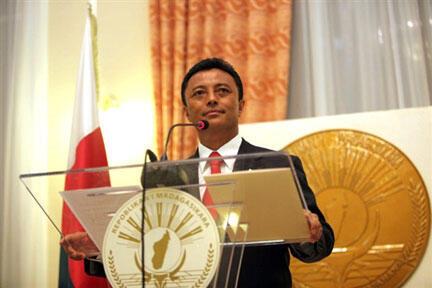 Le président Marc Ravalomanana, lors d'une conférence de presse, le 31 janvier 2009.