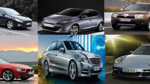Première rangée: les marques françaises. De g. à dr. Peugeot 508, Megane 3 et  Dacia de chez Renault. Deuxième rangée, des marques allemandes (g. à dr.): BMW série 3, Mercedes classe E et Porsche.