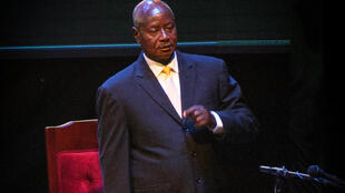 Museveni sings the national anthem before the debate, Serena Conference Centre, Kampala, 13 February 2016.