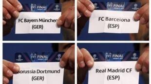 Fotomontagem do sorteio das semifinais da Liga dos Campeões.