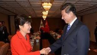 习近平和朴槿惠2014年3月23日在海牙核峰会期间会谈
